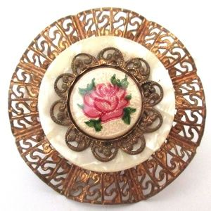 Vtg Cloisonne Pin Rose Goldtone Filigree Celluloid